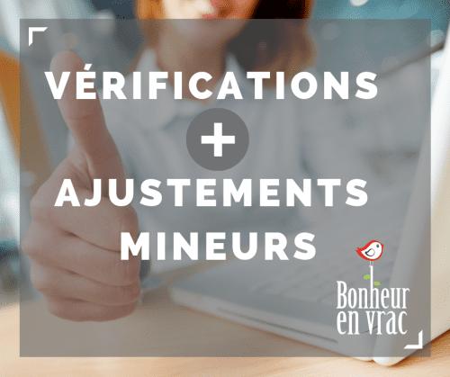 verification et ajustements mineurs